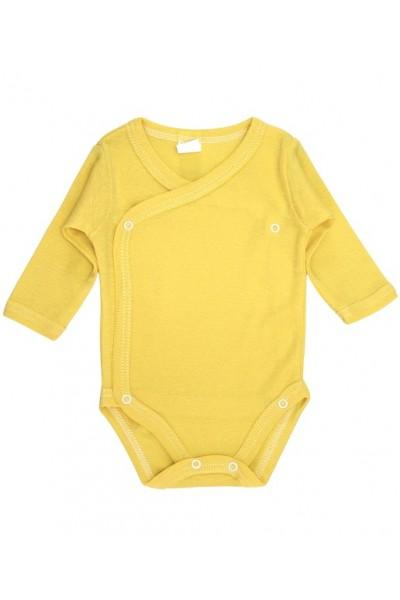 Body bebe bumbac petrecut maneca lunga galben