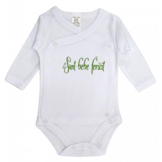 Body bebe bumbac alb mesaj vere sunt bebe fericit