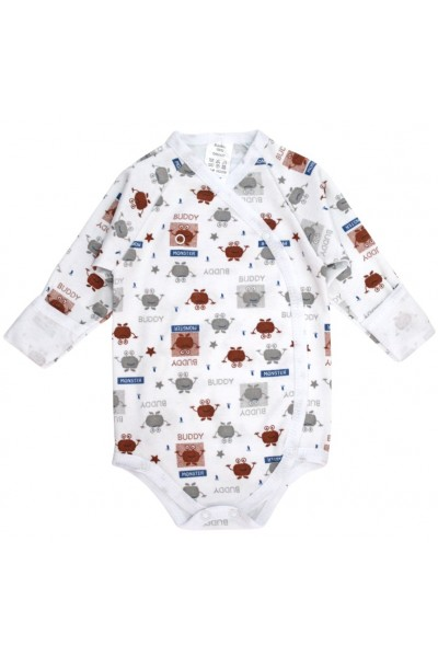 Body bebe bumbac imprimat elemente maro-gri
