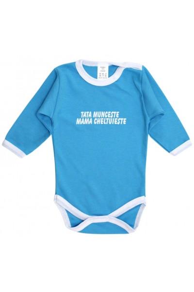 Body bebe bumbac albastru mesaj tata munceste mama cheltuieste