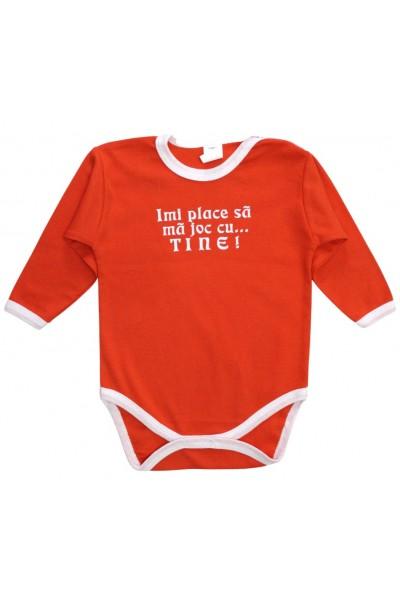 Body bebe bumbac portocaliu mesaj imi place sa ma joc cu tine