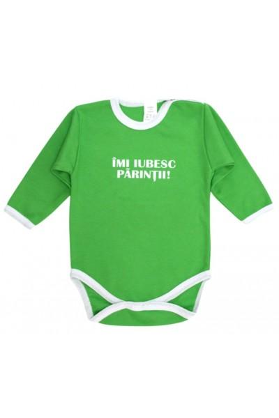 Body bebe bumbac verde mesaj imi iubesc parintii