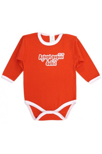 Body bebe bumbac portocaliu mesaj astept pupici dulci