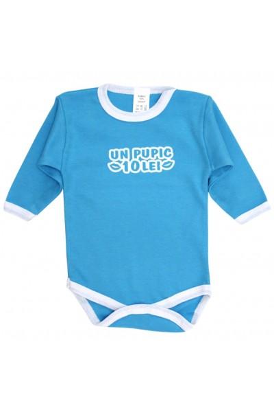 Body bebe bumbac albastru mesaj un pupic 10 lei