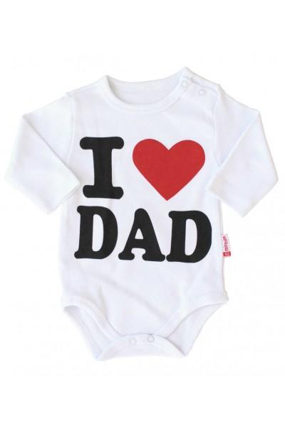 body bebe bumbac maneca lunga alb i love dad