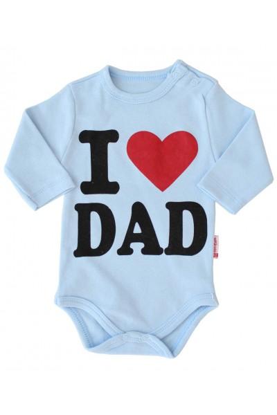 body bebe bumbac maneca lunga bleu i love dad