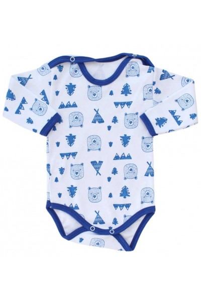 body bebe bumbac maneca lunga imprimeu cap urs albastru