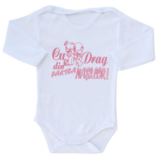 body bebe bumbac maneca lunga alb mesaj roz cu drag din partea nasilor