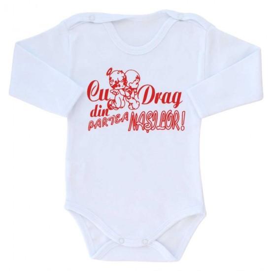 body bebe bumbac maneca lunga alb mesaj rosu cu drag din partea nasilor