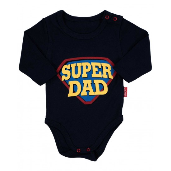 body bebe bumbac maneca lunga super dad bleumarin