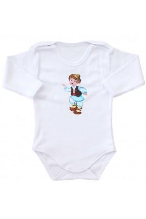 body bebe bumbac alb maneca lunga calusar