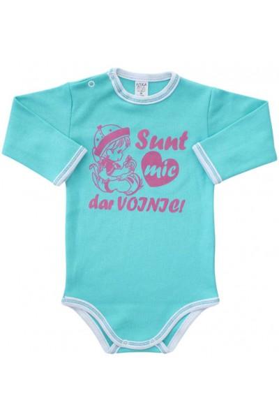 body bebe bumbac maneca lunga vernil mesaj roz sunt mic dar voinic