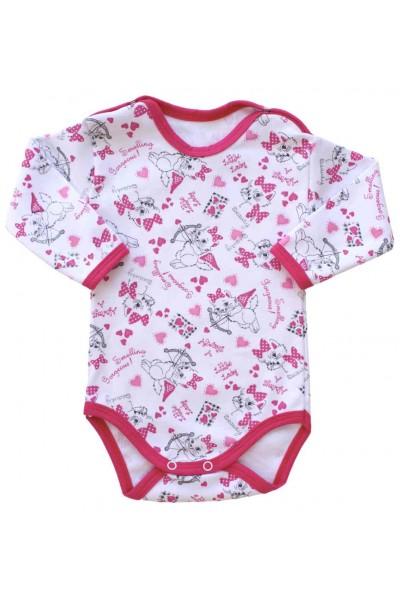 body bebe bumbac maneca lunga pisici roz