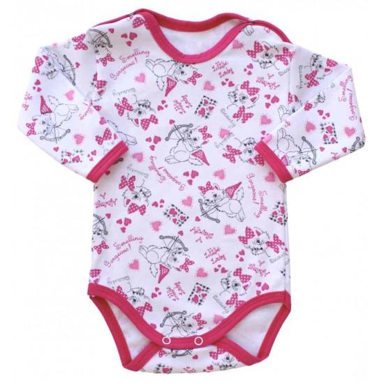 body bebe bumbac subtire maneca lunga pisici roz