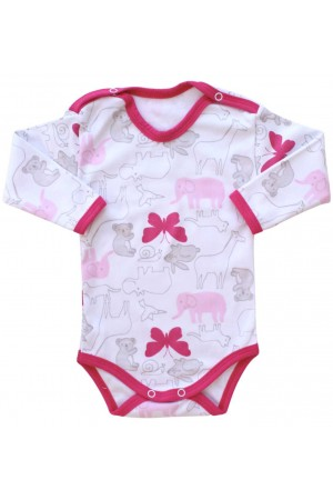 body bebe bumbac maneca lunga fluturi roz