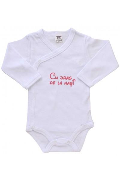 body bebe bumbac maneca lunga alb mesaj roz cu drag de la nasi