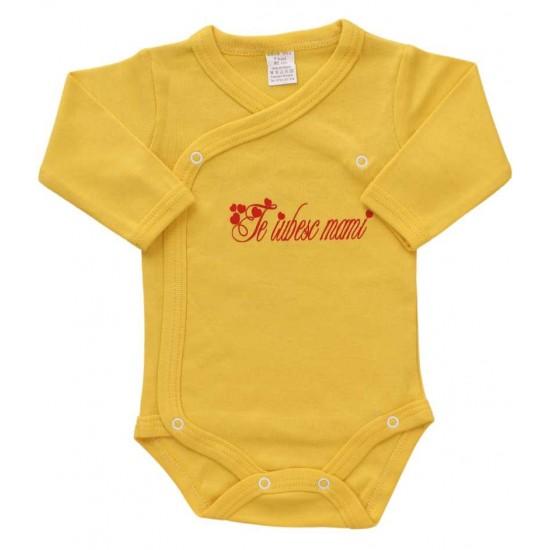 body bebe bumbac maneca lunga galben te iubesc mami