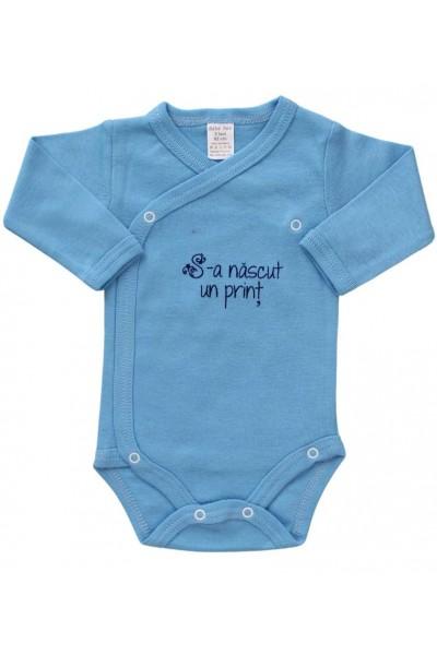 body bebe bumbac maneca lunga bleu s-a nascut un print