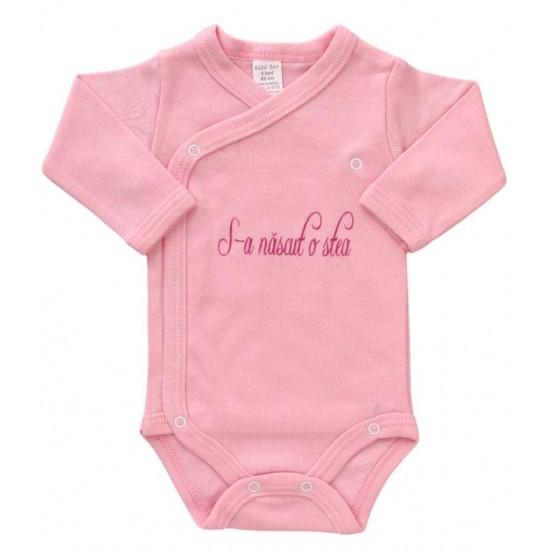 body bebe bumbac maneca lunga roz s-a nascut o stea