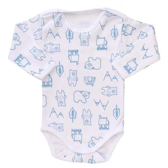 body bebe bumbac maneca lunga ursuleti albastri