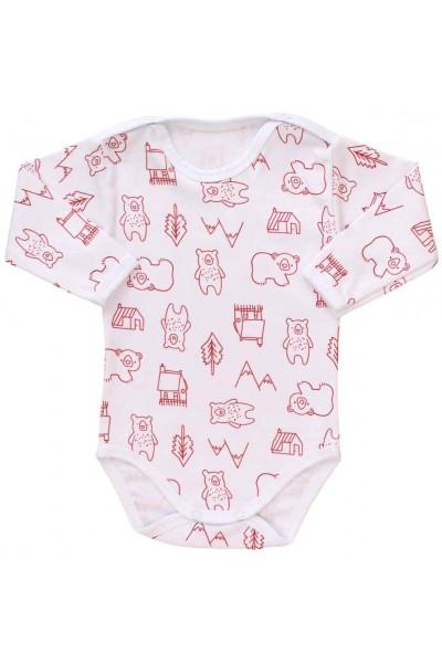 body bebe bumbac maneca lunga ursuleti rosii