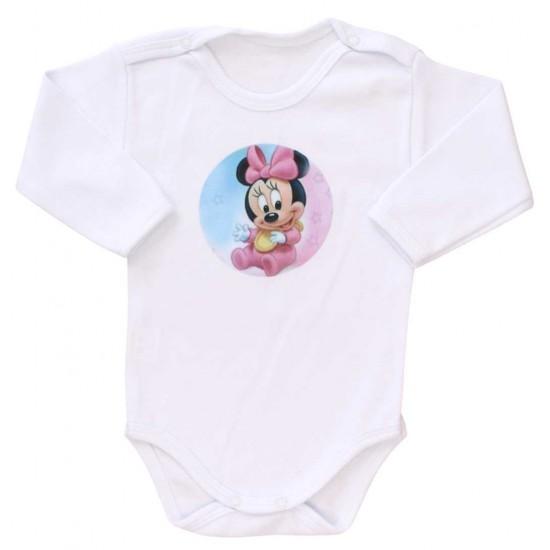 body bebe bumbac maneca lunga babyminnie roz-bleu