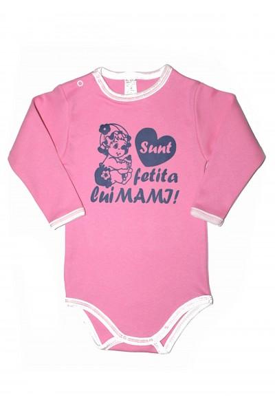 Body maneca lunga azuga roz mesaj albastru Sunt fetita lui mami