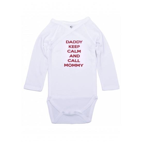 Body maneca lunga petrecut kara alb mesaj daddy keep calm and call mommy