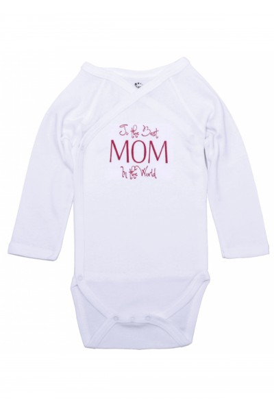 Body maneca lunga petrecut kara alb mesaj to the best mom in the world