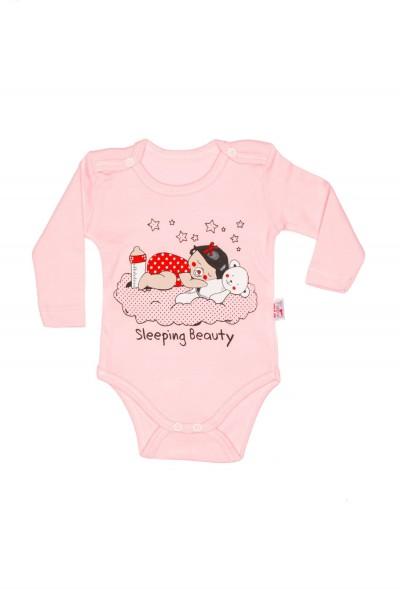body maneca lunga bumbac subtire roz findik bebe dormind