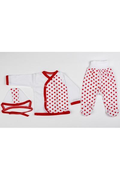 Costum copii trei piese azuga buline rosi
