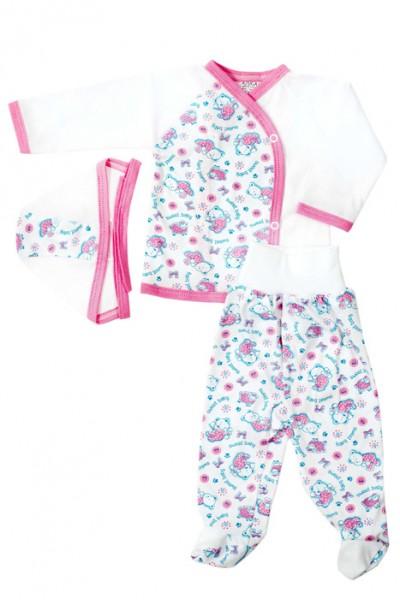 Costumas 3 piese Azuga animalute roz