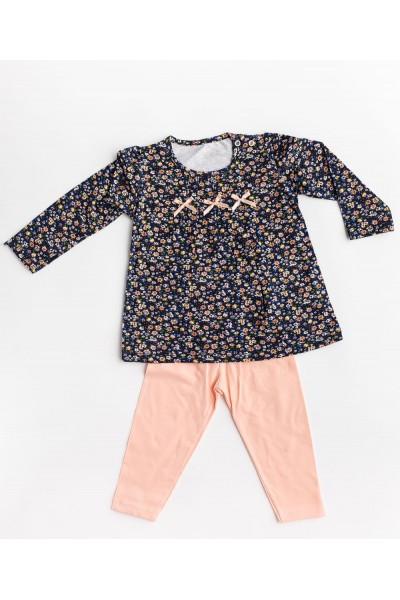 costum fete pattic bluza bleumarin cu floricele