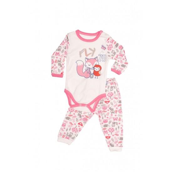 compleu bebe bumbac roz vulpita