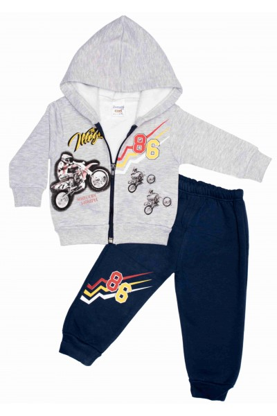 costum copii zvezda bluza gri model motociclist