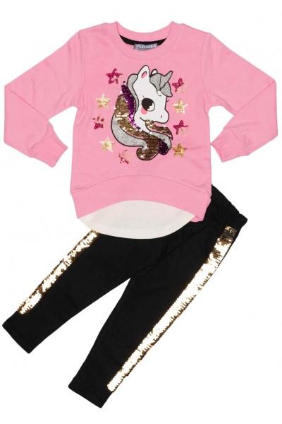 compleu fete bumbac unicorn paiete roz