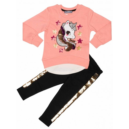 compleu fete bumbac unicorn paiete roz piersica