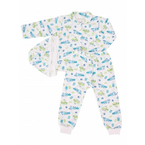 Compleu pijamale azuga masini albastru-vernil