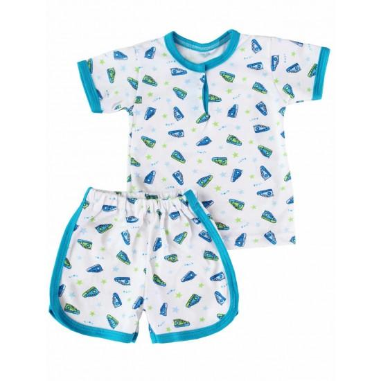 Compleu bebe 2 piese imprimeu verde-albastru