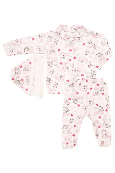 compleu pijamale azuga pisici roz