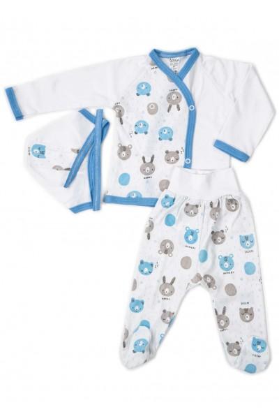 Compleu bebe bumbac 3 piese capse animalute gri-bleu