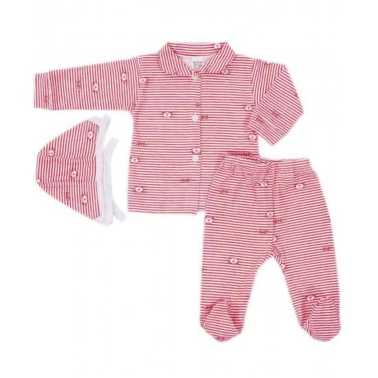 Compleu pijamale azuga dungi rosii