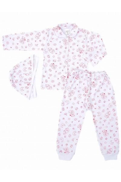 Compleu pijamale azuga ursuleti rosii