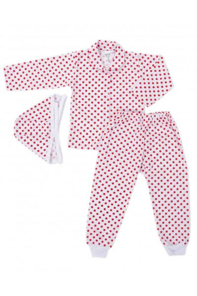 Compleu pijamale azuga buline rosii