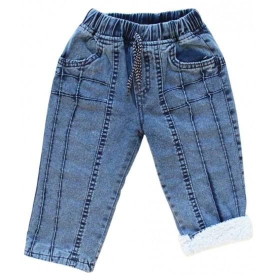 Pantaloni denim imblaniti copii