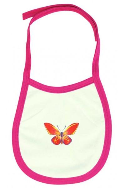 Baveta alb-roz fluturasi