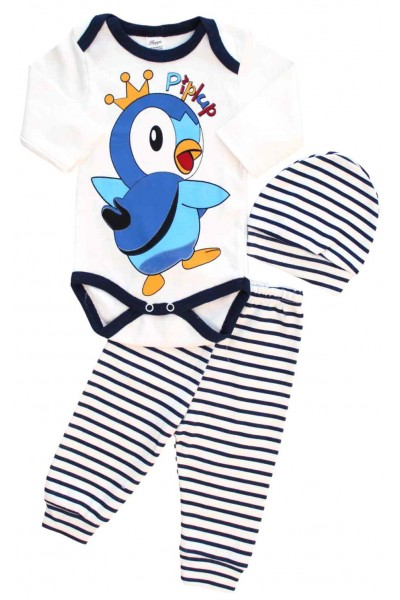 compleu bebe 3 piese pinguin
