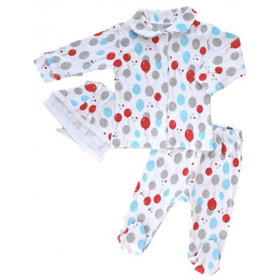 Compleu pijamale azuga baloane rosii albastre