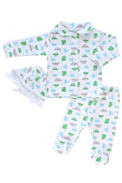 Compleu pijamale azuga masini verzi