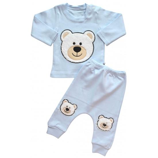Compleu copii bumbac bleu ursulet